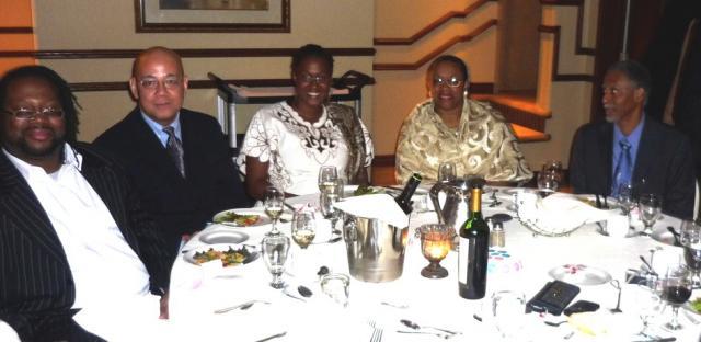 L to R: Toronto lawyer Selwyn Pieters, Fo Niemi, Sen. Pemba Braveboy, Gemma Raeburn and Chief Justice Adrian Saunders